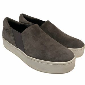 Vince. Women's Gray Suede Slip On Mules Size 8